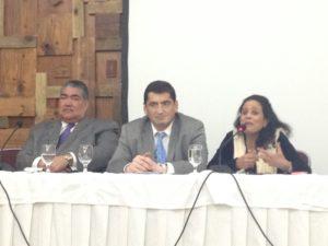 Organizadores del evento Embajadora Laura Faxas, Miguel Mejia y representante de la UNESCO.