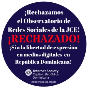 Rechazo Observatorio Redes Sociales JCE